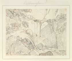 Waterfall, perhaps at Papanasam. August 1792